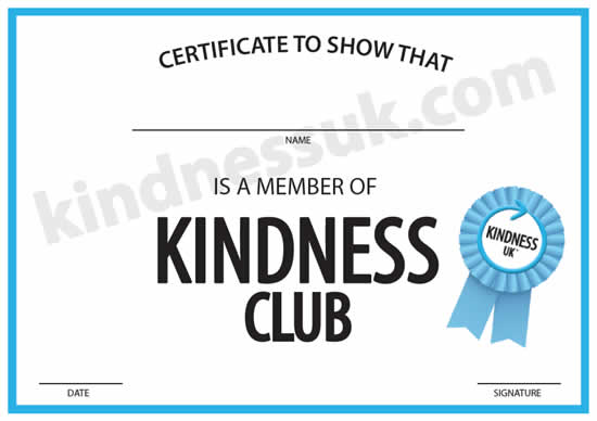 Kindness Club Certificate